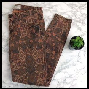 free people // aztec print orange skinny jeans